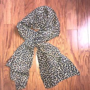 Cotton animal print shawl/ scarf, brown and black